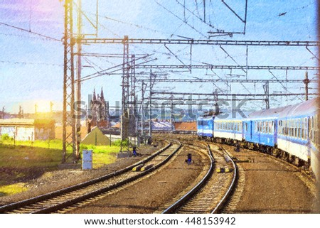 Passenger train departs from the main train station of Prague to Kutna Hora. Locomotive enters the tunnel. Prague, Czech Republic. Photo stylized illustration