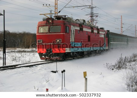 passenger train speeding fierce winter in Siberia