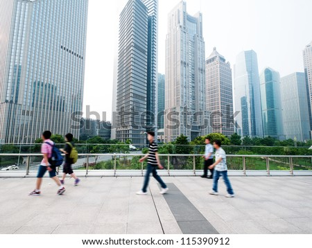 passenger walking on the walkway at shanghai china - stock photo