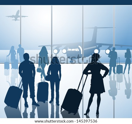Passengers with luggage in airport. Raster version of vector illustration