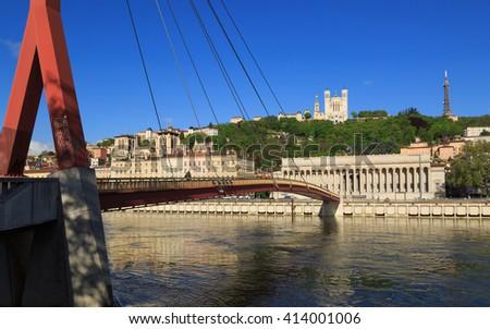 Passerelle du Palais du Justice over the Saone river and Palais du Justice Historique in Lyon. - stock photo