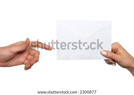 passing envelope - stock photo