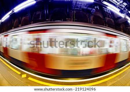 Passing train, London. - stock photo