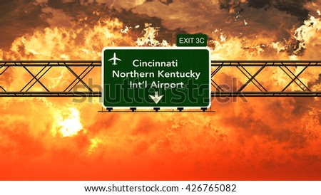 Passing under Cincinnati Northern Kentucky USA Airport Highway Sign in a Beautiful Cloudy Sunset 3D Illustration - stock photo