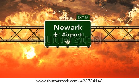 Passing under Newark USA Airport Highway Sign in a Beautiful Cloudy Sunset 3D Illustration - stock photo