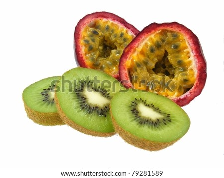 Passion Fruit and Kiwi Fruit - stock photo