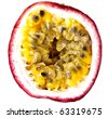 Passion Fruit, completely isolated on white - stock photo