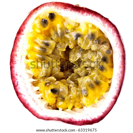 Passion Fruit, completely isolated on white