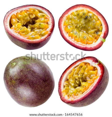 Passion fruit isolated on white background. Collection - stock photo