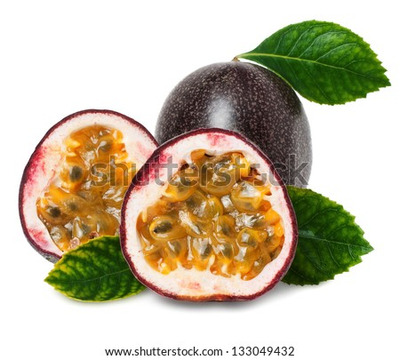 Passion fruit on the white background - stock photo