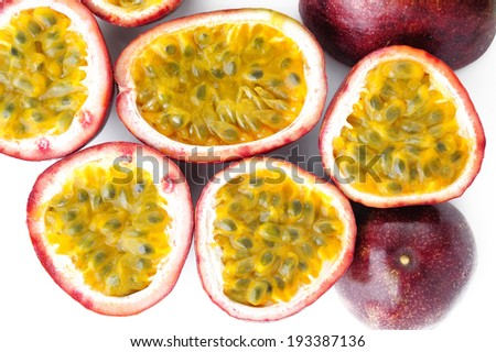 Passion fruit on white background - stock photo