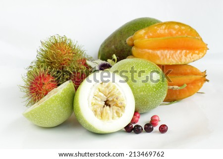 Passion fruit on white background, Isolate passion fruit.