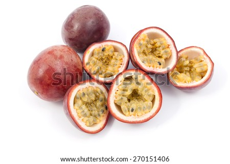 Passion Fruit over a white background - stock photo