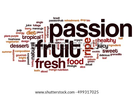 passion fruit word cloud concept words stock illustration 499317025