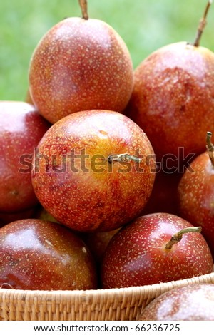 Passion fruits in tray - stock photo
