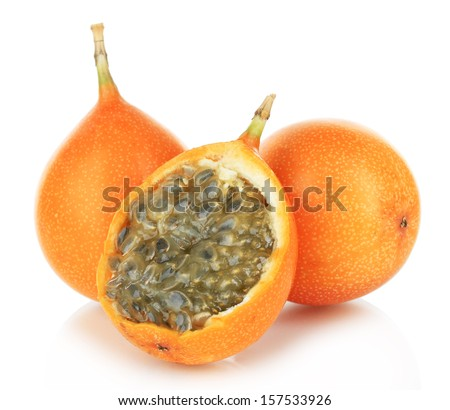 Passion fruits isolated on white - stock photo