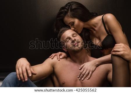 Passion portrait of couple in love  - stock photo