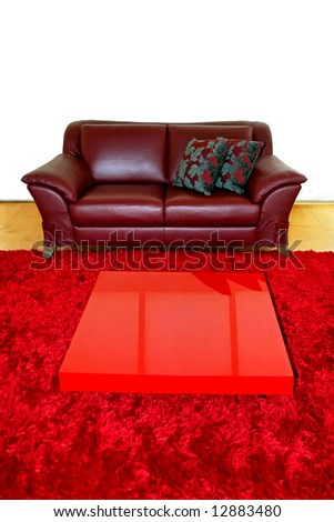 Passion red leather sofa in living room