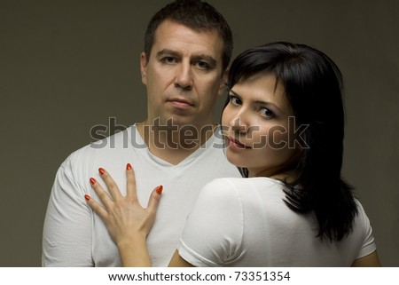 Passionate couple share a moment of romantic affection