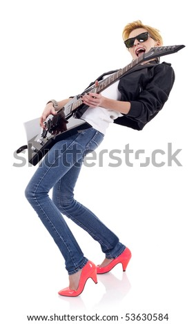 passionate girl guitarist wearing sunglasses and playin over white - stock photo