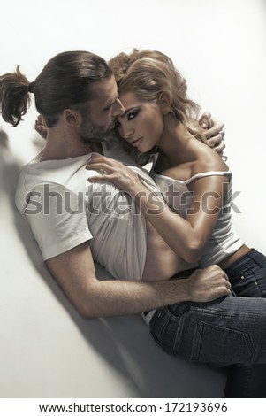 Passionate man and woman - stock photo