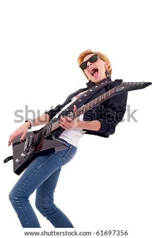 passionate woman guitarist playing the guitar over white - stock photo