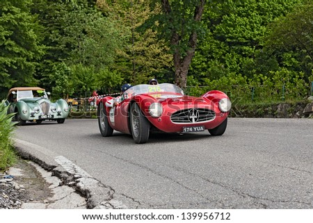 PASSO DELLA FUTA (FI), ITALY - MAY 18: unidentified drivers on vintage racing car Maserati A6 GCS/53 (1954) in the italian historical race  Mille Miglia on May 18, 2013 in Passo della Futa (FI) Italy