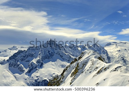 Passo Tonale and Presanella mountain group from the north, Natural Park Adamello, Alp, Italy