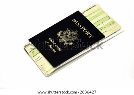 Passport and airline ticket isolated in a white background - stock photo
