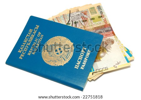Passport and banknotes of Kazakhstan - stock photo