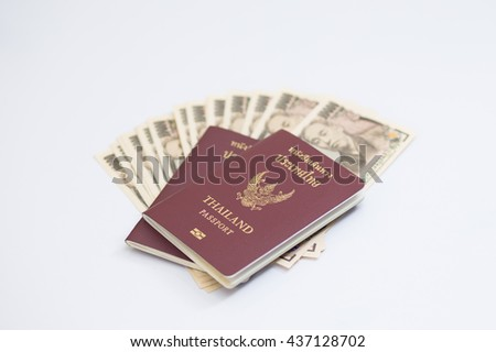 Passport and Japanese banknote