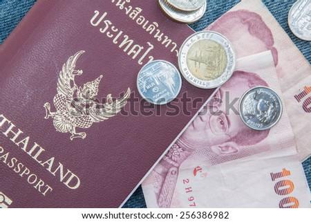 Passport and money For travel - stock photo