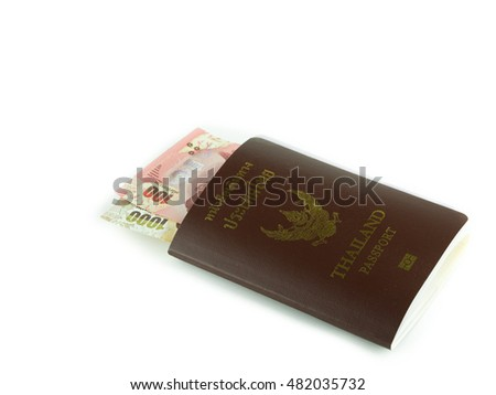 Passport and money isolated on white background.