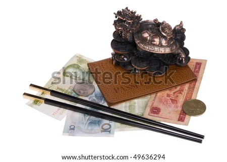 Passport and souvenirs from the China. - stock photo