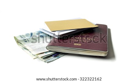 Passport , banknotes and credit card , Isolated on white background - stock photo
