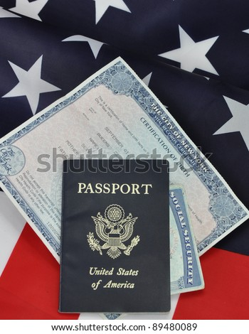 Passport Birth Certificate Social Security Card Stock Photo (Royalty ...
