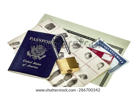 Passport, fingerprint card, driver's license, social security card, birth certificate and open padlock isolated on white - stock photo