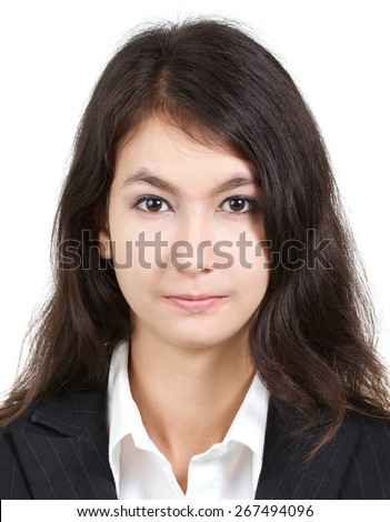 passport photo of young attractive sexy beautiful woman in white shirt and suit isolated on a white background, 3.5x4.5 ratio - stock photo
