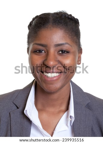 Passport picture of a laughing african businesswoman - stock photo