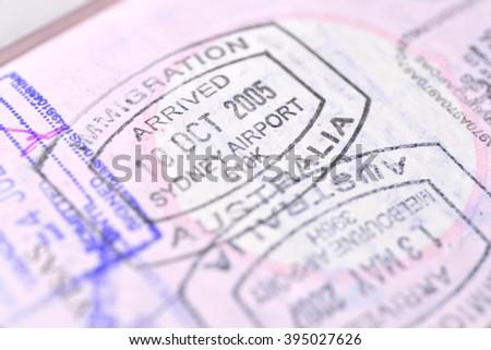 Passport stamp background (Selective focus) - stock photo