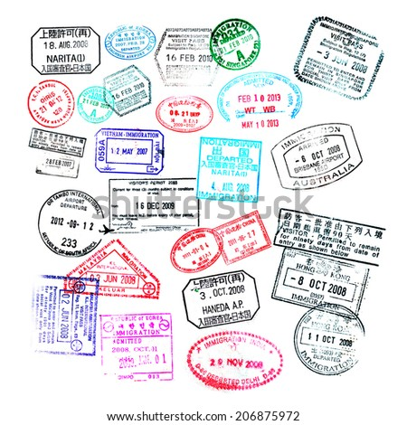 Passport stamps  isolated on white background - stock photo