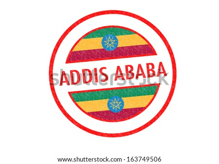 Passport-style ADDIS ABABA (capital of Ethopia) rubber stamp over a white background. - stock photo