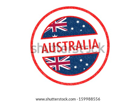 Passport-style AUSTRALIA rubber stamp over a white background. - stock photo