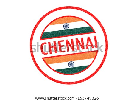 Passport-style CHENNAI (India) rubber stamp over a white background. - stock photo