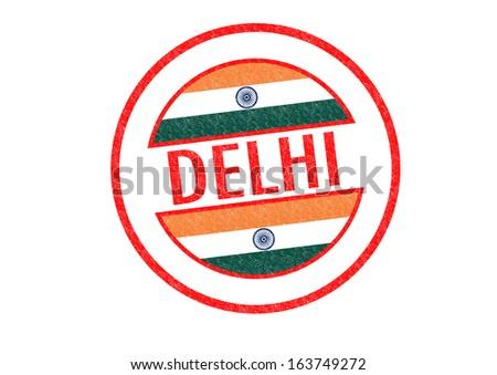 Passport-style DELHI (India) rubber stamp over a white background. - stock photo