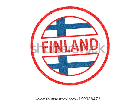 Passport-style FINLAND rubber stamp over a white background. - stock photo