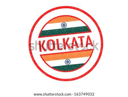 Passport-style KOLKATA (India) rubber stamp over a white background. - stock photo