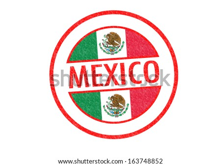 Passport-style MEXICO rubber stamp over a white background.