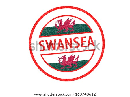 Passport-style SWANSEA (Wales) rubber stamp over a white background.