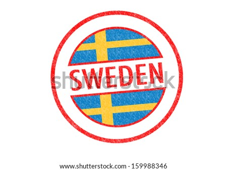 Passport-style SWEDEN rubber stamp over a white background.